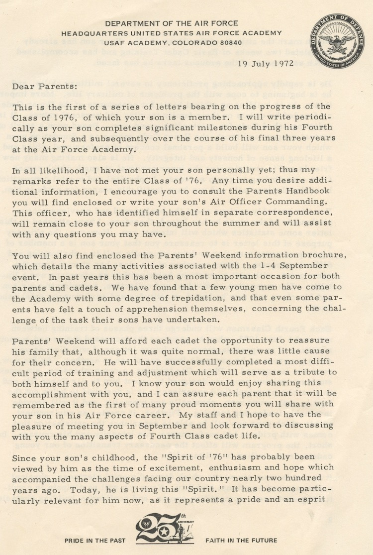 Superintendent's Letter to Parents July 1972