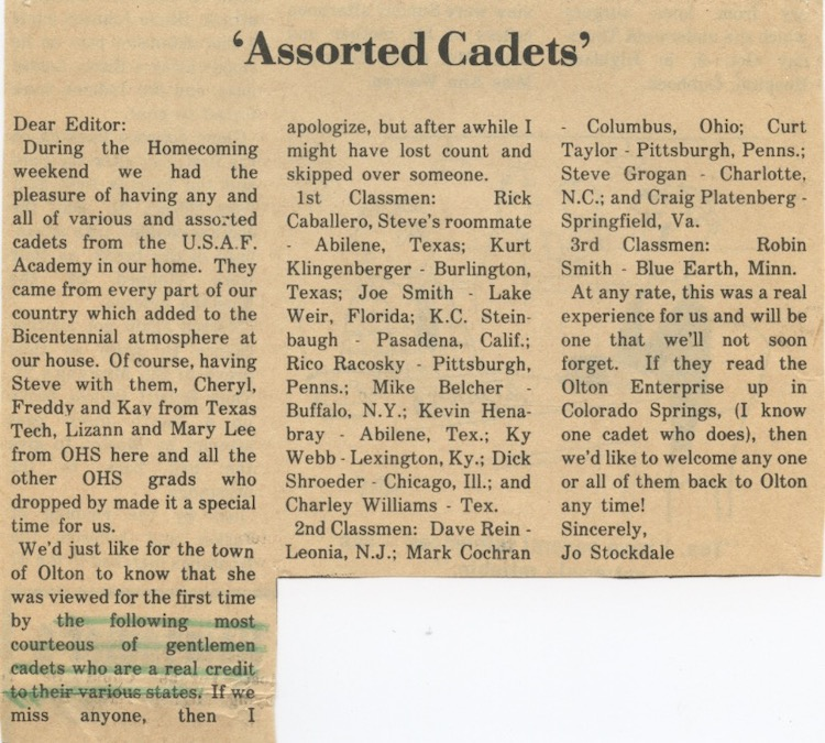 Cadets visit Olton TX letter to the editor