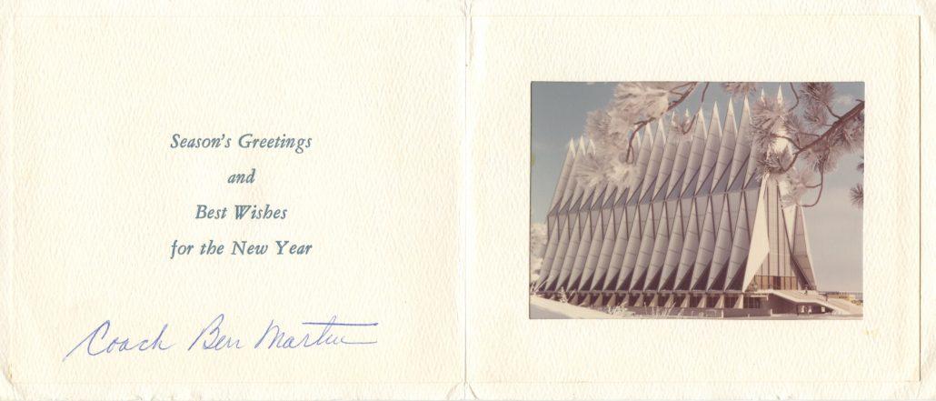 Christmas card from Coach Ben Martin