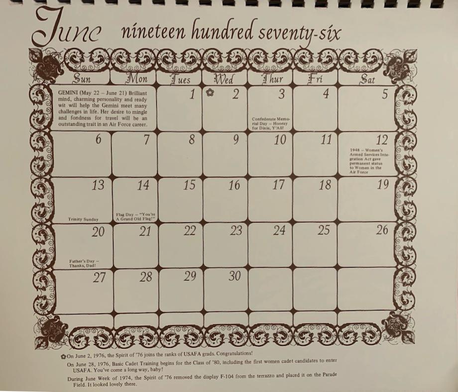 Brides Calendar, June 1976
