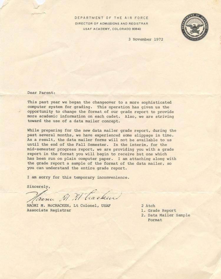 Letter re: Grades