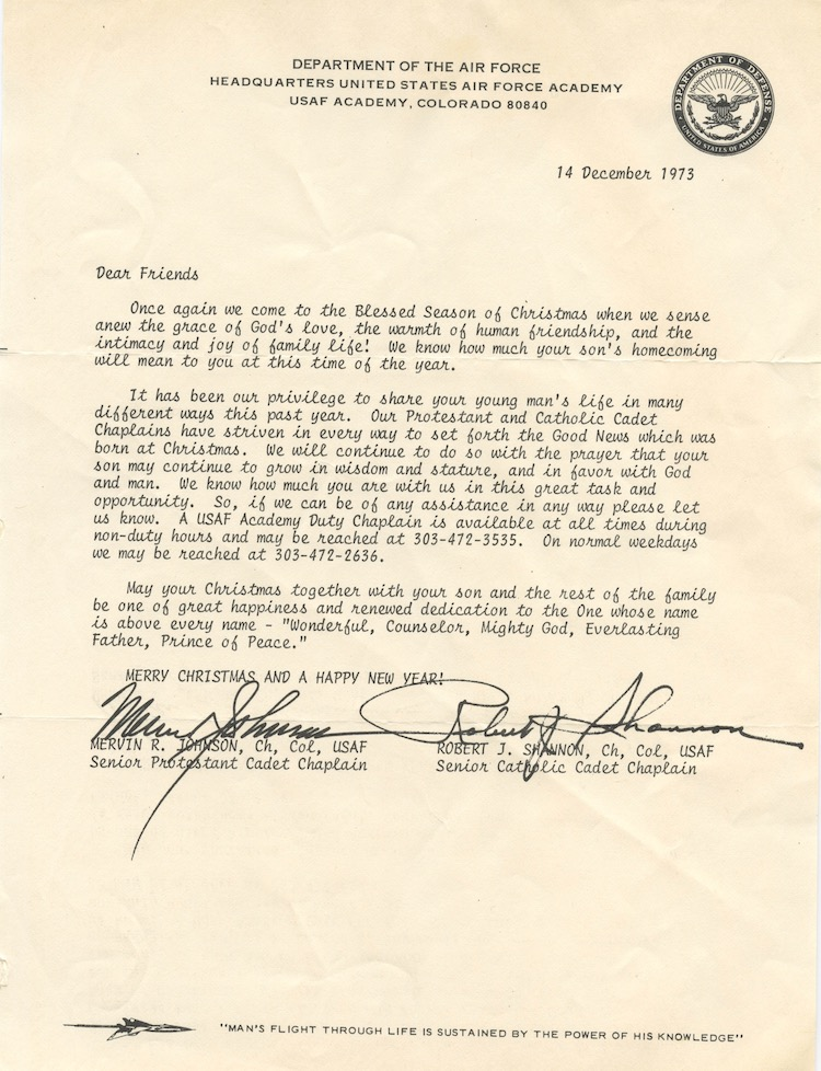 letter to parents from chaplains