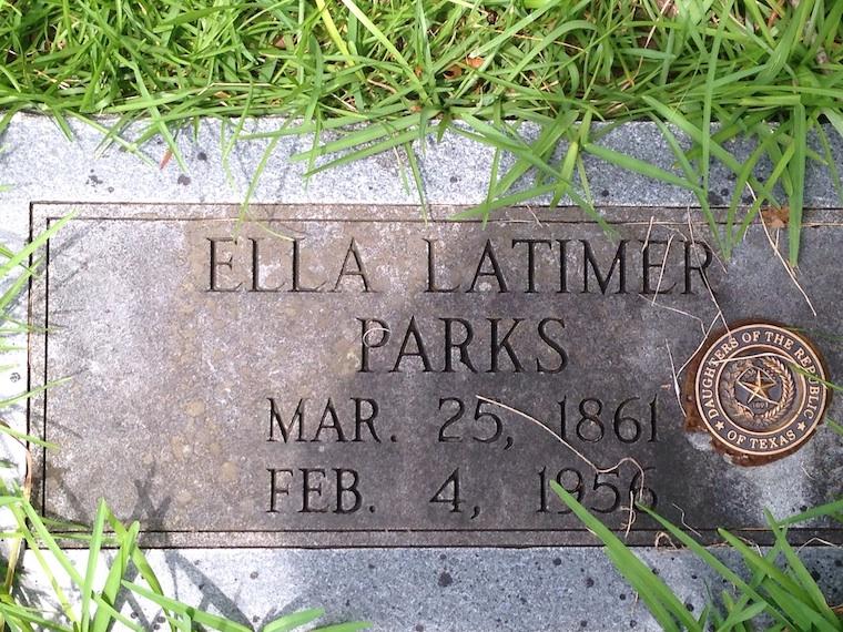 Ella Latimer Parks Gravestone