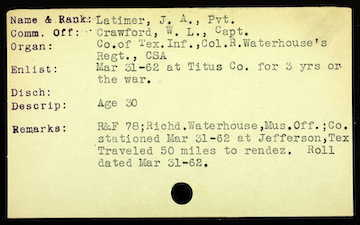 John Latimer's CSA Record Card