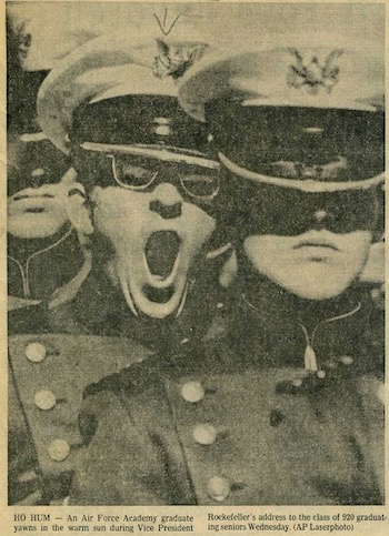Photo graduating cadet yawns